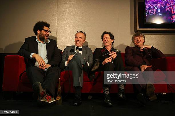Crowded House speak to the media in the awards room after being inducted into the ARIA Hall of Fame during the 30th Annual ARIA Awards 2016 at The...