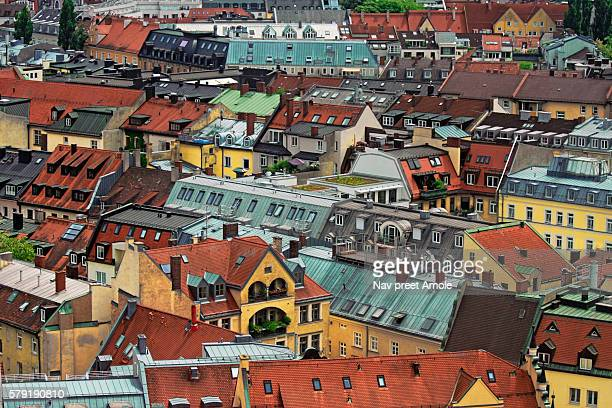 Crowded Houses And Roof Rooftops in Munich Germany, Bavaria