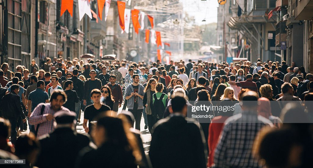 Crowded Istiklal street in Istanbul : Stock Photo