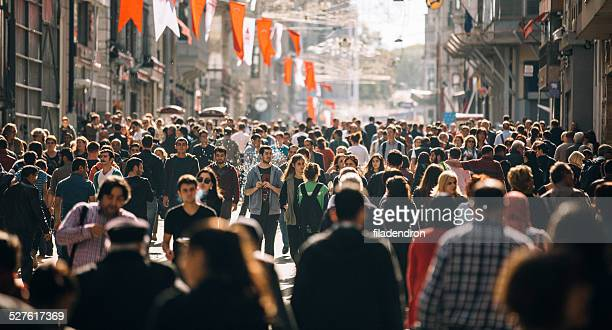 crowded istiklal street in istanbul - crowd of people stock pictures, royalty-free photos & images