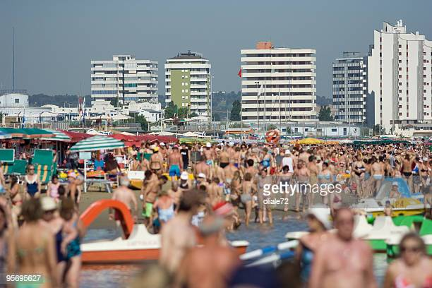 crowded italian beach, unrecognizable people - adriatic sea stock pictures, royalty-free photos & images