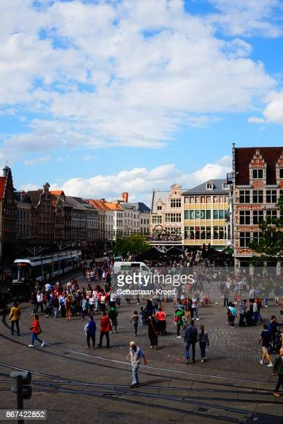 Crowded Korenmarkt Square with Tram, Gent, Belgium