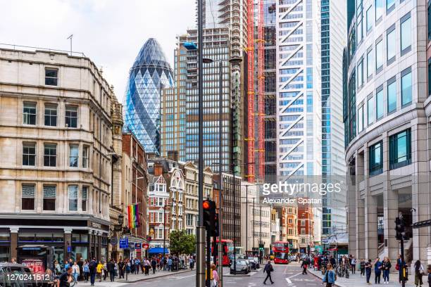 crowded liverpool street in the city of london financial district, uk - central london stock pictures, royalty-free photos & images