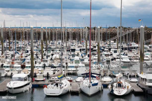 Crowded marina and harbour in Binic near St Brieuc Brittany France