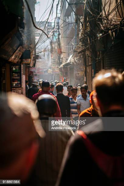 Crowded narrow streets of Old Delhi.