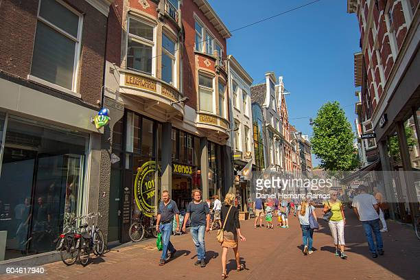 crowded of people in haarlem city street in a sunny day at summer - haarlem stock photos and pictures