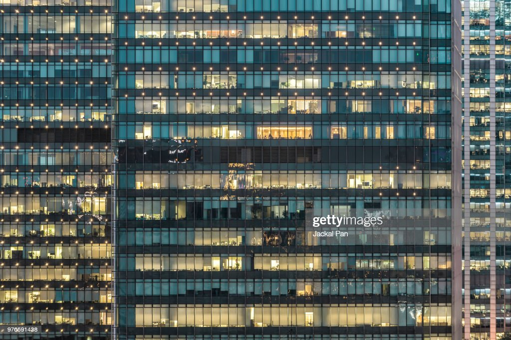 Crowded Office Buildings at Night : Stock Photo