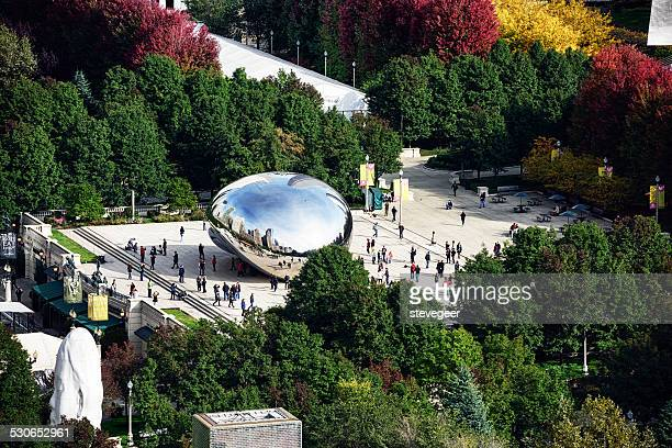 crowded park in chicago, from above - millenium park stock photos and pictures