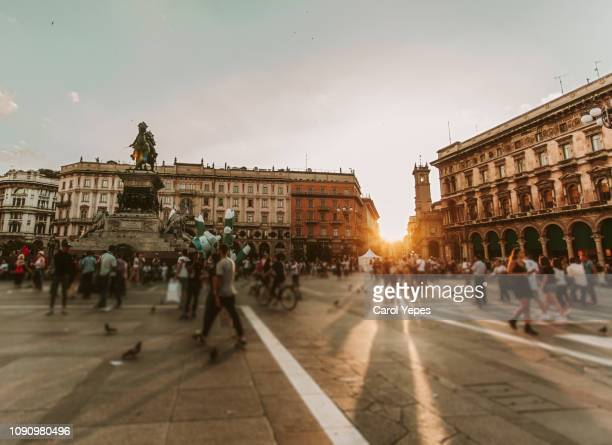 crowded  piazza duomo,milan. - courtyard stock photos and pictures
