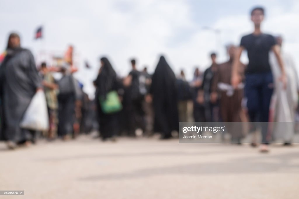 Crowded pilgrims walking together : Stock Photo