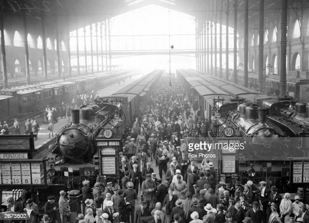 A crowded platform at Gare du Nord train station in Paris