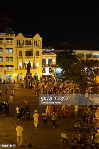 Crowded Plaza de los Coches Square at Night, People, Cartagena, Colombia