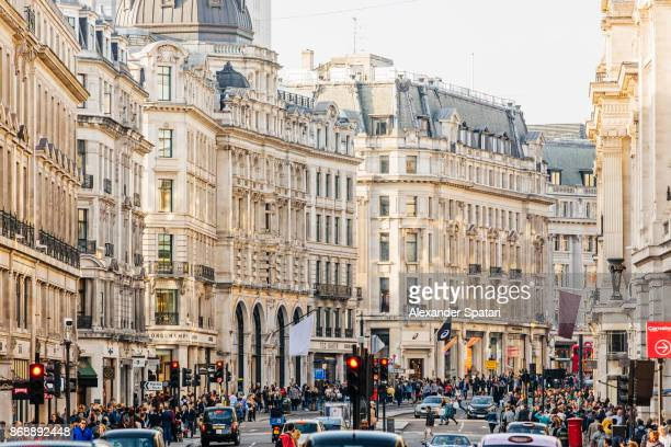Crowded Regent Street, London, UK