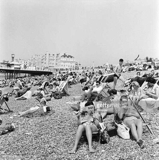 Crowded scenes on Brighton Beach as holidaymakers enjoy the hot summer weather East Sussex June 1960 M4327006