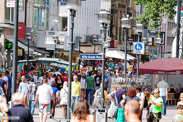 crowded shopping street - pedestrian zone stock pictures, royalty-free photos & images