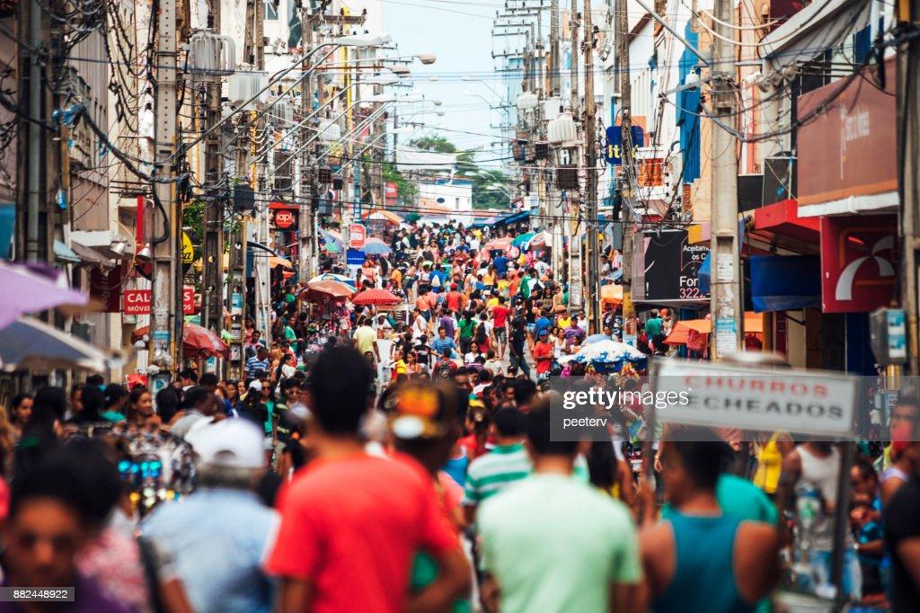 Crowded shopping street - Sao Luis, Brazil : Stock Photo