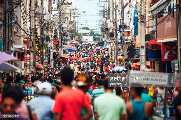 crowded shopping street - sao luis, brazil - brazil stock pictures, royalty-free photos & images