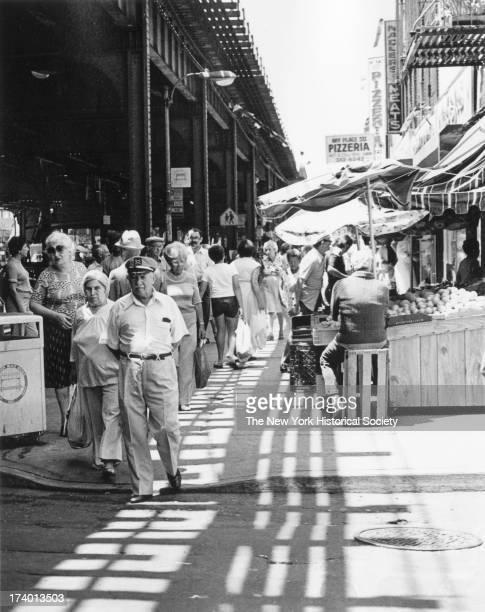 Crowded sidewalk Brighton Beach Brooklyn New York New York 1984