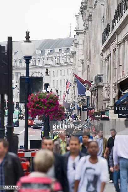 Crowded sidewalk on Regent Street, London