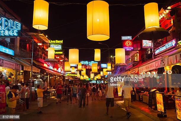 crowded siem reap pub street cambodia - cambodia stock pictures, royalty-free photos & images
