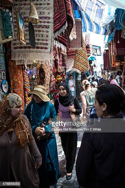 crowded souk, tunis, tunisia - tunisia stock pictures, royalty-free photos & images