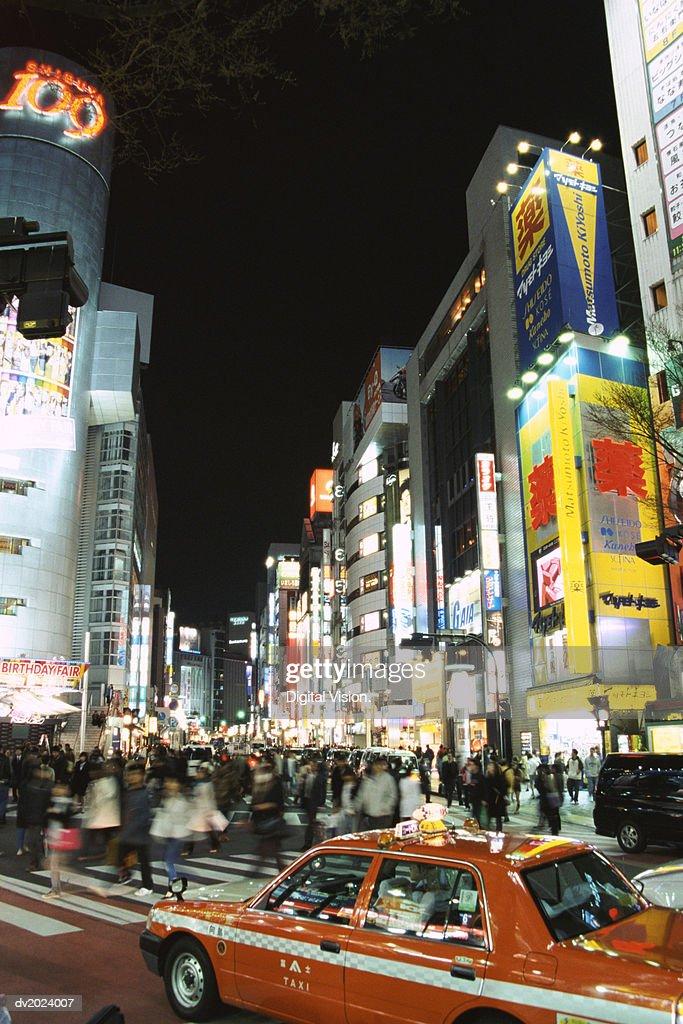 Crowded Street at Night, Shibuya, Tokyo, Japan : Stock Photo