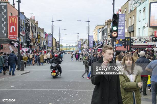 Crowded street at the Camden Lock Market, London, England, October 28, 2017.