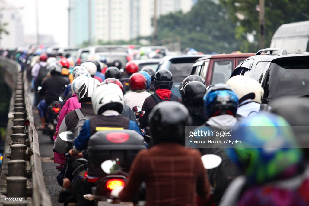 Crowded Street In Indonesia : Stock Photo