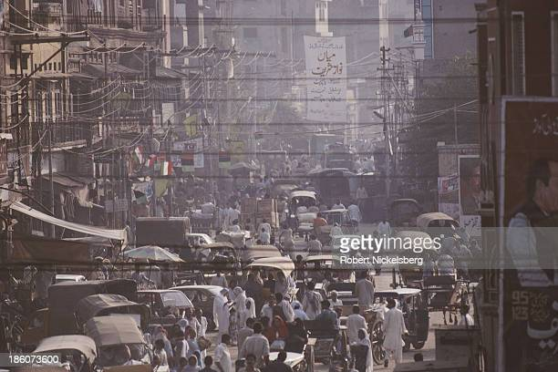 Crowded street in Lahore, Pakistan, October 1990.