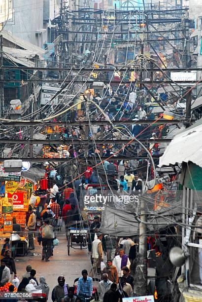 Crowded street in Old Delhi. Delhi, National Capital Territory of India, India.