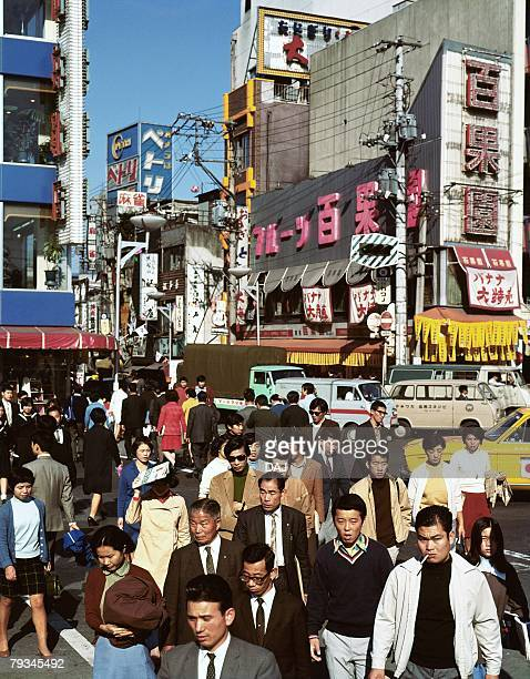 crowded street - showa period stock pictures, royalty-free photos & images