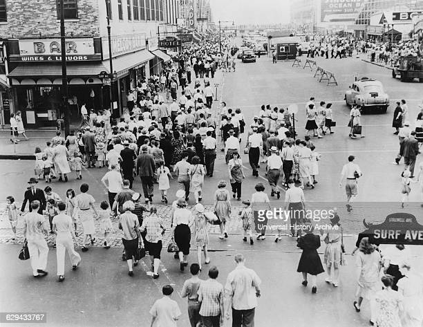 Crowded Street Scene at Intersection of Surf and Stillwell Avenues Coney Island New York City USA 1944