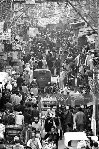 Crowded street scene in Chandni Chowk, New Delhi, India