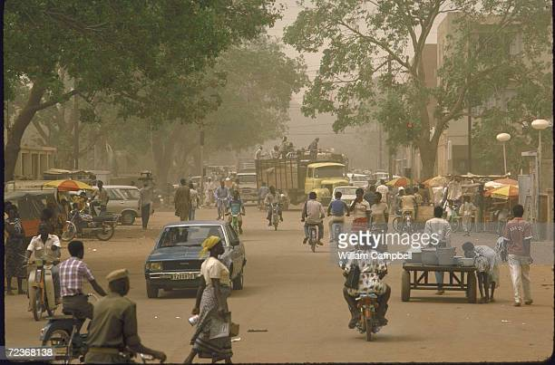 Crowded street scene.