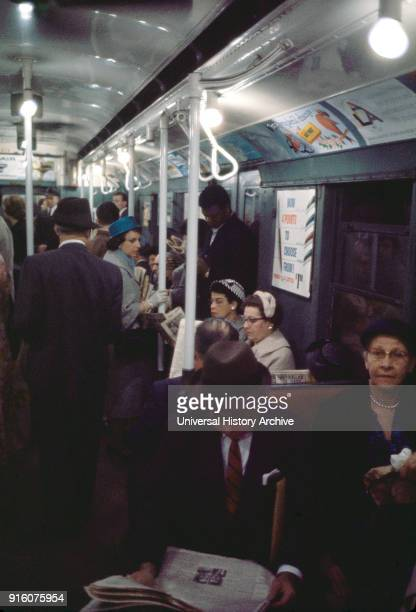 Crowded Subway New York City New York USA July 1961