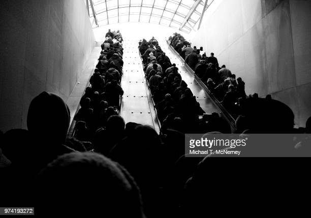 crowded subway station, washington dc, usa - crowded subway stock photos and pictures