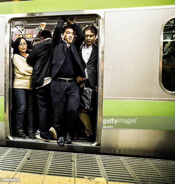 Crowded subway train Tokyo Japan