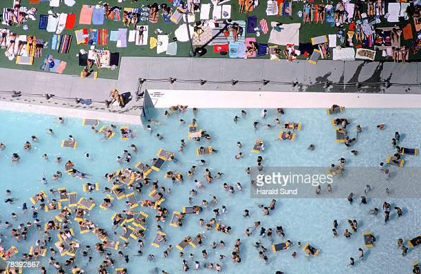 Crowded swimming pool