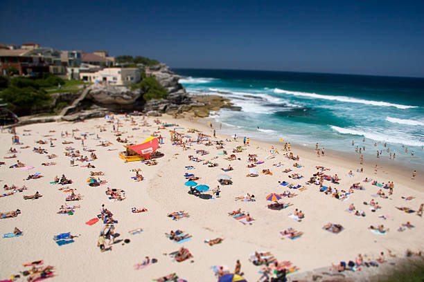 Crowded Tamarama Beach in the summer