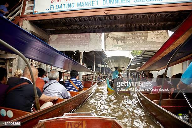 Crowded tourist boats in Damnoen Saduak floating market, Rachaburi, Thailand