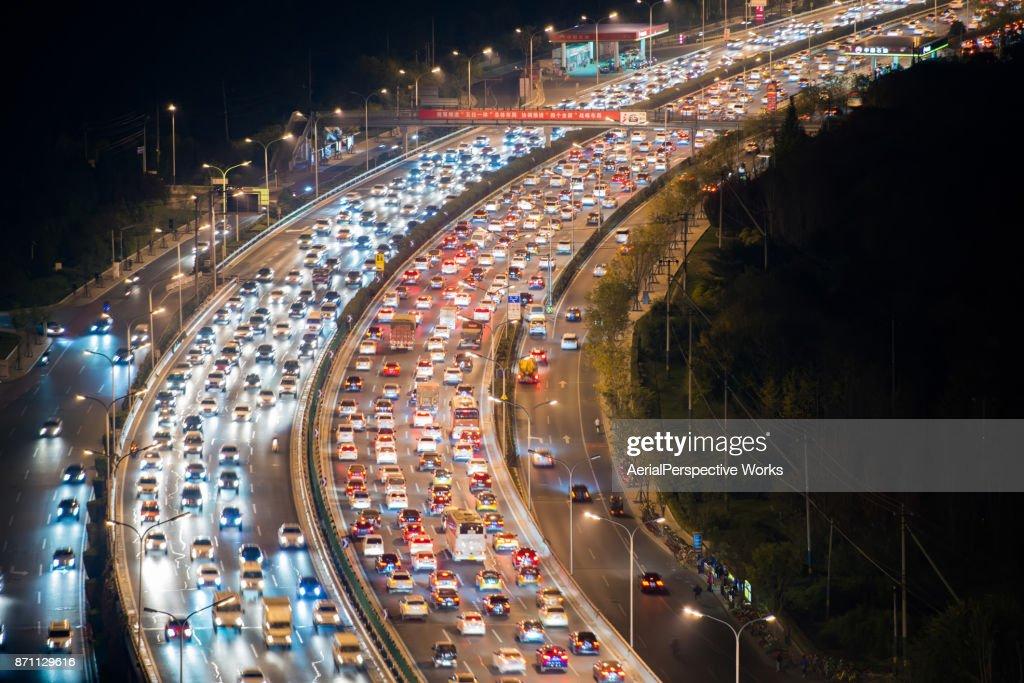 Überfüllten Verkehr in Peking : Stock-Foto