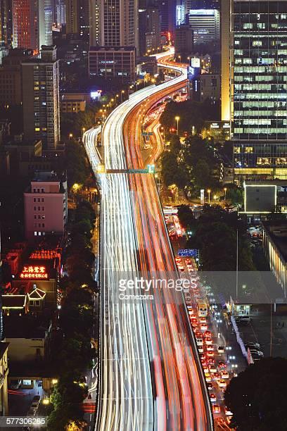 Crowded traffic & Light Trails