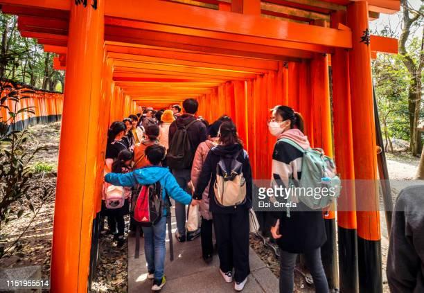 peuplé de touristes fushimi inari taisha sanctuaire, tokyo, japon - saint eloi photos et images de collection