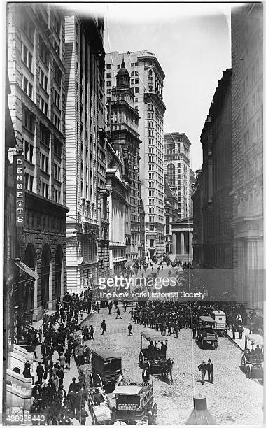 Crowds along Broad Street New York New York 1895 Stock Exchange visible