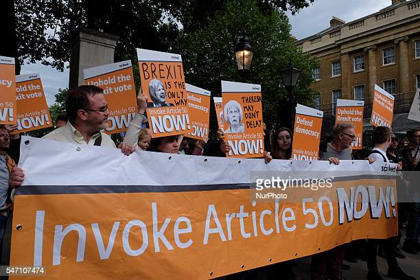 Crowds and protests around Downing street on 13 July 2016 in London UKas David Cameron leaves office for the last time and the new Prime Minister...
