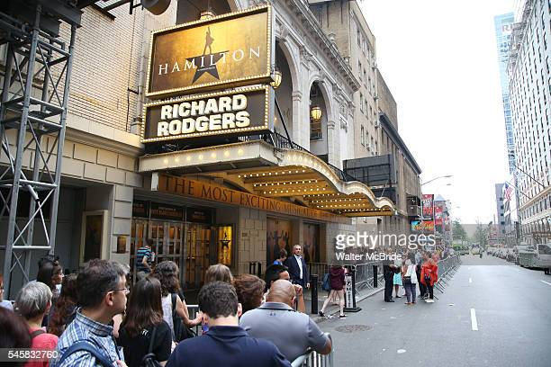 Crowds and Theatre Marquee for the final performance of LinManuel Miranda in 'Hamilton' on Broadway at Richard Rodgers Theatre on July 9 2016 in New...