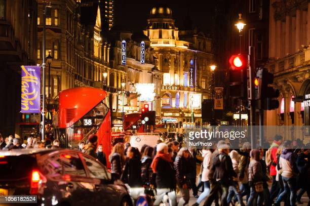 Crowds and traffic pack the 'Theatreland' end of Shaftesbury Avenue in the West End of London, England, on November 1, 2018.