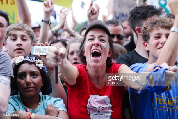 Crowds are excited by Jeremy Corbyn speaking on the Pyramid stage on day 3 of the Glastonbury Festival 2017 at Worthy Farm Pilton on June 24 2017 in...