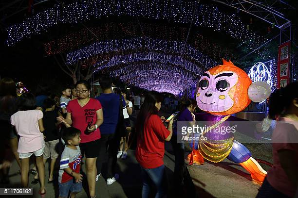 Crowds are seen at the Fo Guang Shan Ding Zen Temple to celebrate the Lantern Festival on the last day of Chinese Lunar New Year celebrations at...