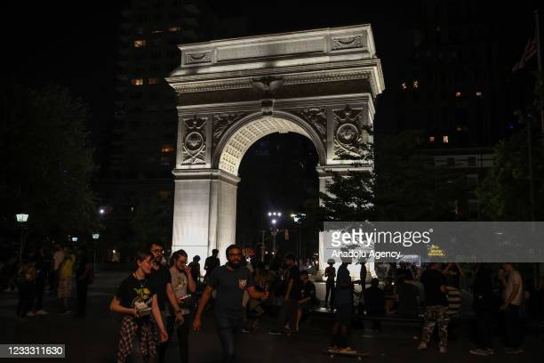 Crowds are seen at the Washington Square Park in New York City, United States on June 6, 2021.